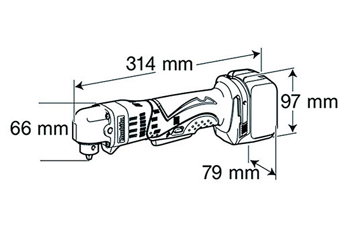 Аккумуляторная угловая дрель MAKITA BDA340RFE
